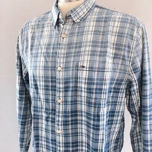 NWOT Tommy Hilfiger Casual Ombre Blue Plaid Shirt